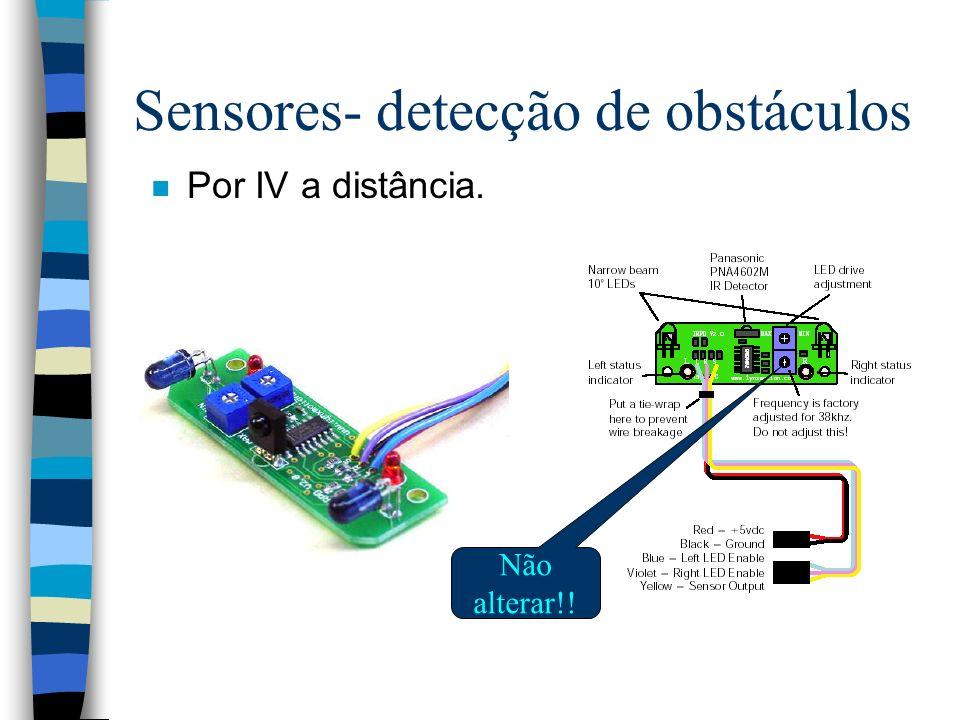 Sensores- detecção de obstáculos n Por IV a distância. Não alterar!!