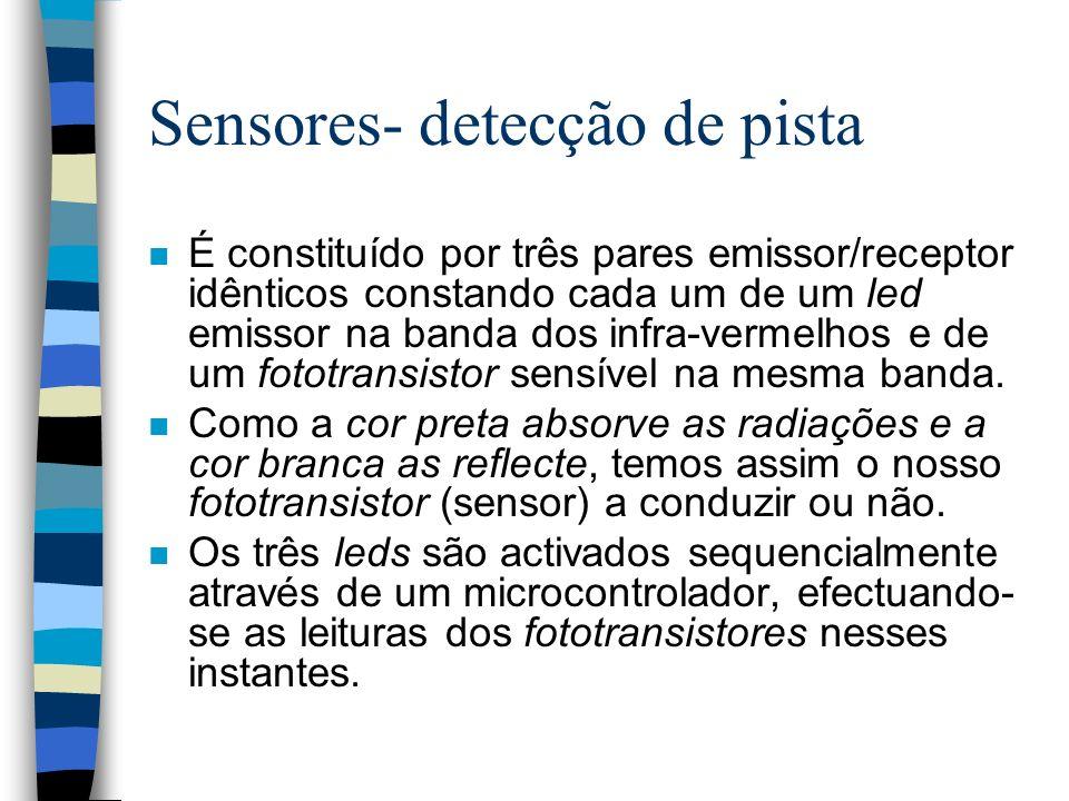 Sensores- detecção de pista n É constituído por três pares emissor/receptor idênticos constando cada um de um led emissor na banda dos infra-vermelhos