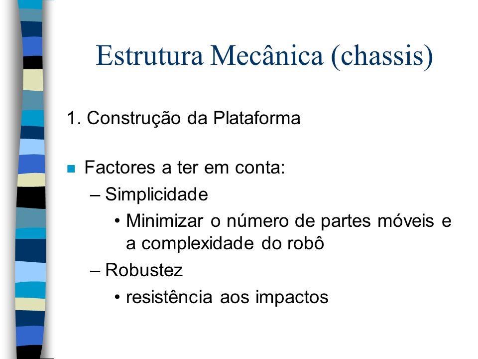 Estrutura Mecânica n Modularidade –O robô deve ser composto por um grupo de módulos que se interliguem de tal forma, que um dos módulos possa ser substituído sem necessidade de remoção dos restantes –Materiais aconselhados para a plataforma: Vidro acrílico, PVC ou contraplacado