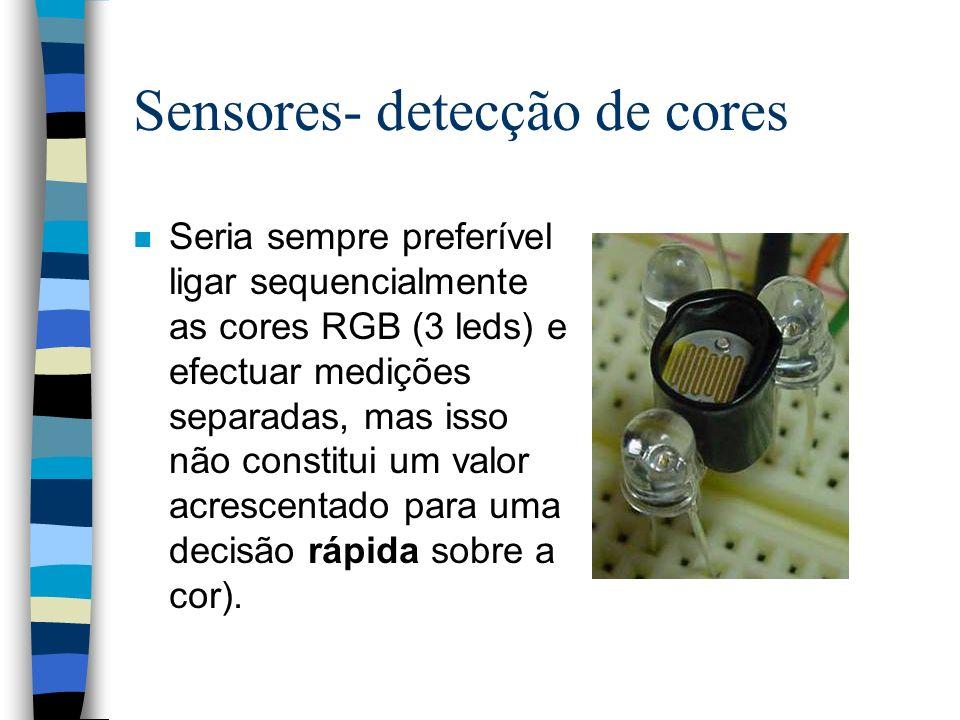 Sensores- detecção de cores n Seria sempre preferível ligar sequencialmente as cores RGB (3 leds) e efectuar medições separadas, mas isso não constitu