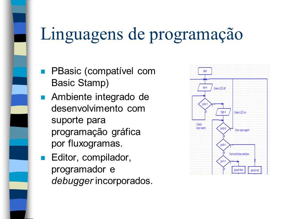 Linguagens de programação n PBasic (compatível com Basic Stamp) n Ambiente integrado de desenvolvimento com suporte para programação gráfica por fluxo