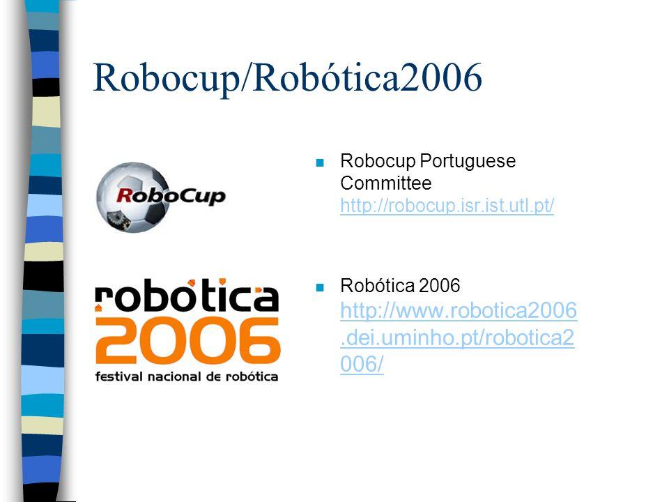 Robocup/Robótica2006 n Robocup Portuguese Committee http://robocup.isr.ist.utl.pt/ http://robocup.isr.ist.utl.pt/ n Robótica 2006 http://www.robotica2