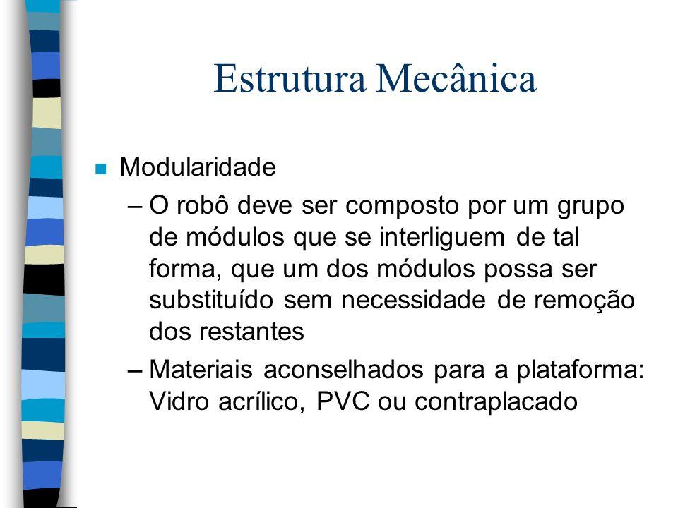 Estrutura Mecânica n Forma (plataforma simples): Roda livre Vista de baixo motores Vista Lateral