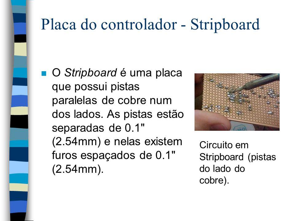 Placa do controlador - Stripboard n O Stripboard é uma placa que possui pistas paralelas de cobre num dos lados. As pistas estão separadas de 0.1