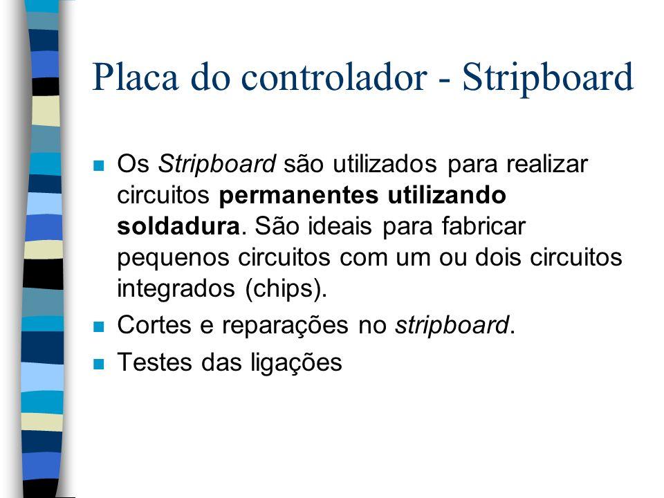 Placa do controlador - Stripboard n Os Stripboard são utilizados para realizar circuitos permanentes utilizando soldadura. São ideais para fabricar pe
