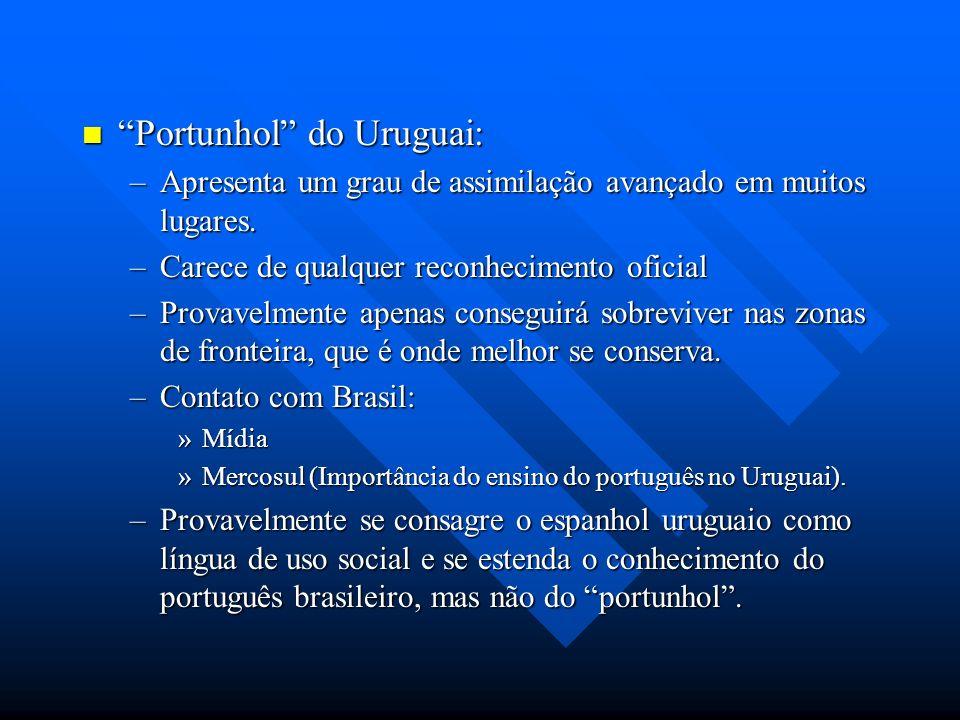 Portunhol do Uruguai: Portunhol do Uruguai: –Apresenta um grau de assimilação avançado em muitos lugares. –Carece de qualquer reconhecimento oficial –
