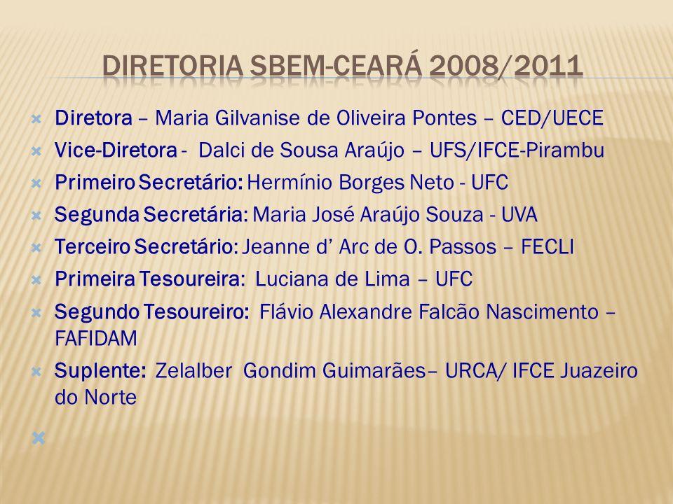 Diretora – Maria Gilvanise de Oliveira Pontes – CED/UECE Vice-Diretora - Dalci de Sousa Araújo – UFS/IFCE-Pirambu Primeiro Secretário: Hermínio Borges