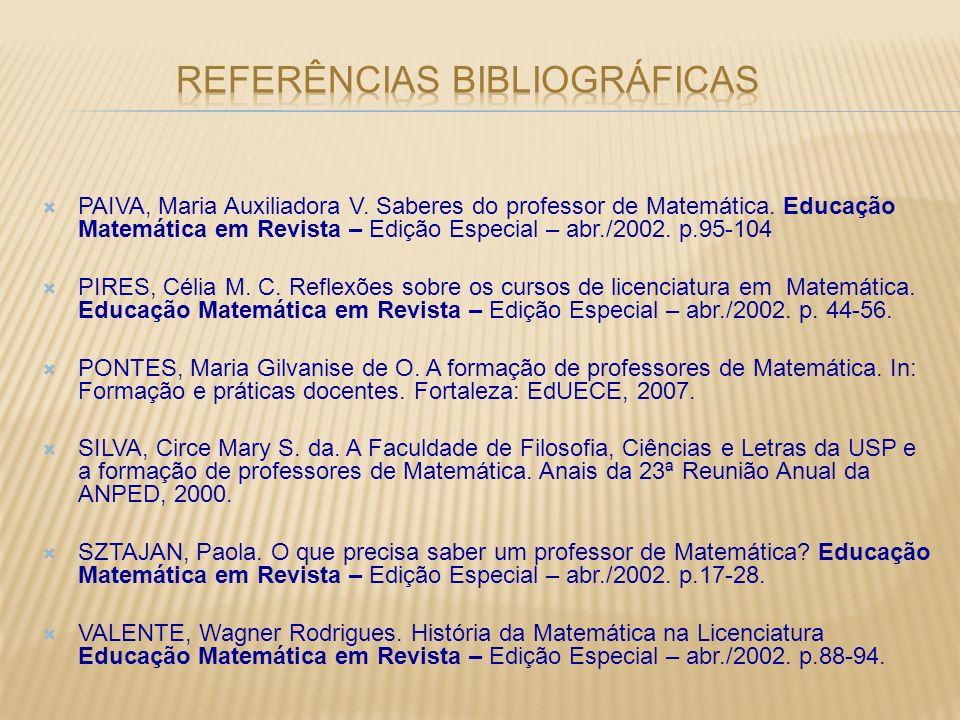 PAIVA, Maria Auxiliadora V. Saberes do professor de Matemática. Educação Matemática em Revista – Edição Especial – abr./2002. p.95-104 PIRES, Célia M.