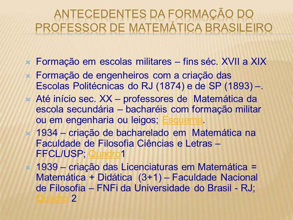 Formação em escolas militares – fins séc. XVII a XIX Formação de engenheiros com a criação das Escolas Politécnicas do RJ (1874) e de SP (1893) –. Até