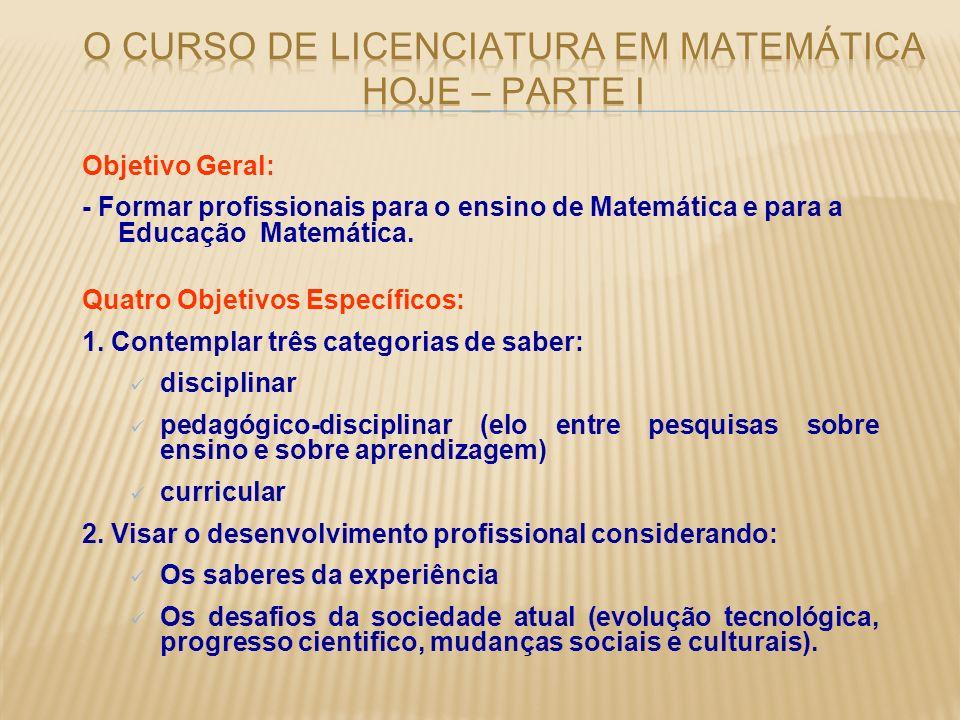 Objetivo Geral: - Formar profissionais para o ensino de Matemática e para a Educação Matemática. Quatro Objetivos Específicos: 1. Contemplar três cate