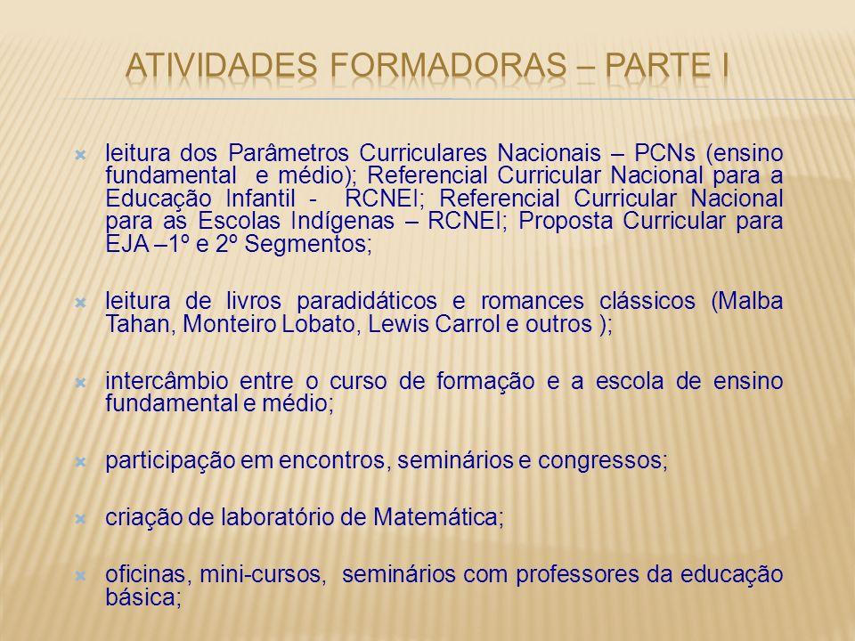 leitura dos Parâmetros Curriculares Nacionais – PCNs (ensino fundamental e médio); Referencial Curricular Nacional para a Educação Infantil - RCNEI; R