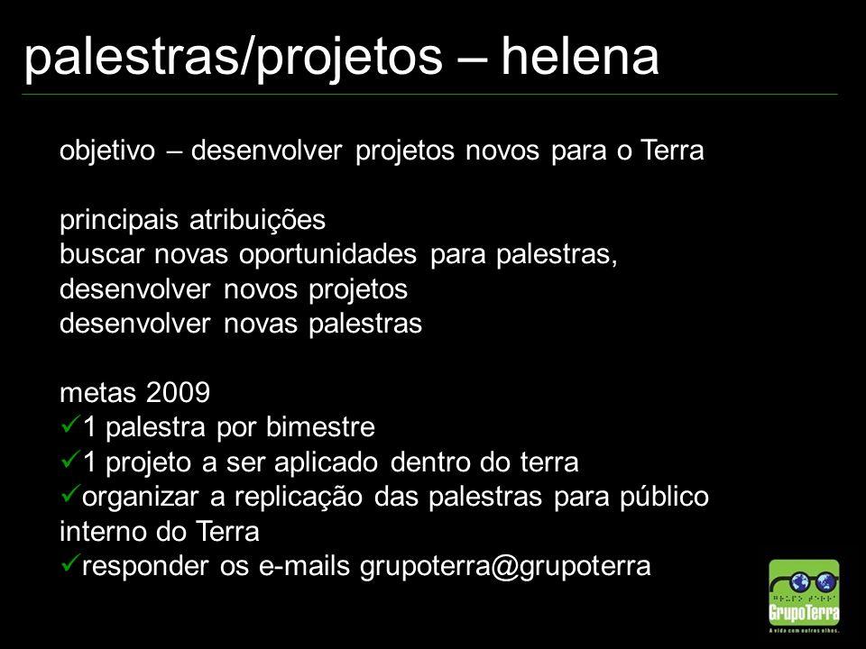 palestras/projetos – helena objetivo – desenvolver projetos novos para o Terra principais atribuições buscar novas oportunidades para palestras, desen
