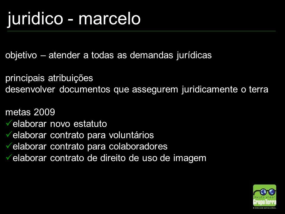 juridico - marcelo objetivo – atender a todas as demandas jurídicas principais atribuições desenvolver documentos que assegurem juridicamente o terra