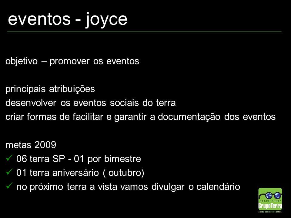 eventos - joyce objetivo – promover os eventos principais atribuições desenvolver os eventos sociais do terra criar formas de facilitar e garantir a d