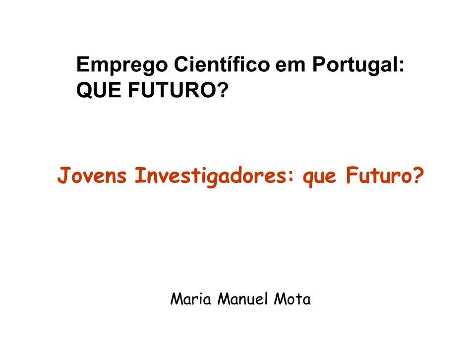 Emprego Científico em Portugal: QUE FUTURO? Maria Manuel Mota Jovens Investigadores: que Futuro?