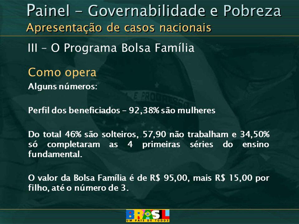 III – O Programa Bolsa Família Como opera Alguns números: Perfil dos beneficiados – 92,38% são mulheres Do total 46% são solteiros, 57,90 não trabalha