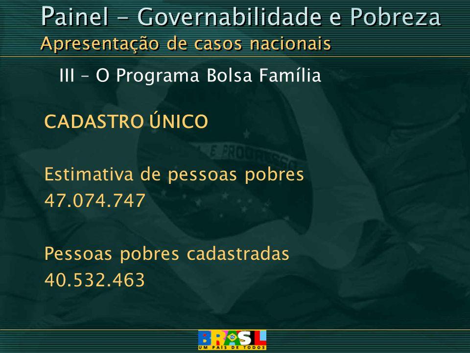 III – O Programa Bolsa Família CADASTRO ÚNICO Estimativa de pessoas pobres 47.074.747 Pessoas pobres cadastradas 40.532.463 P ainel - Governabilidade