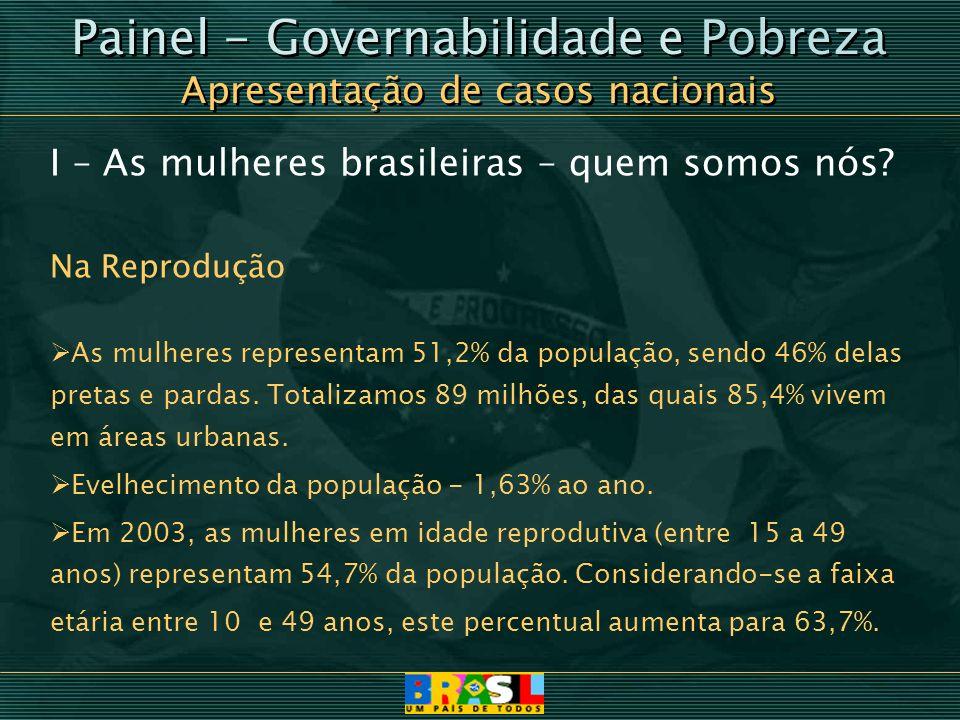 Painel - Governabilidade e Pobreza Apresentação de casos nacionais Painel - Governabilidade e Pobreza Apresentação de casos nacionais I – As mulheres
