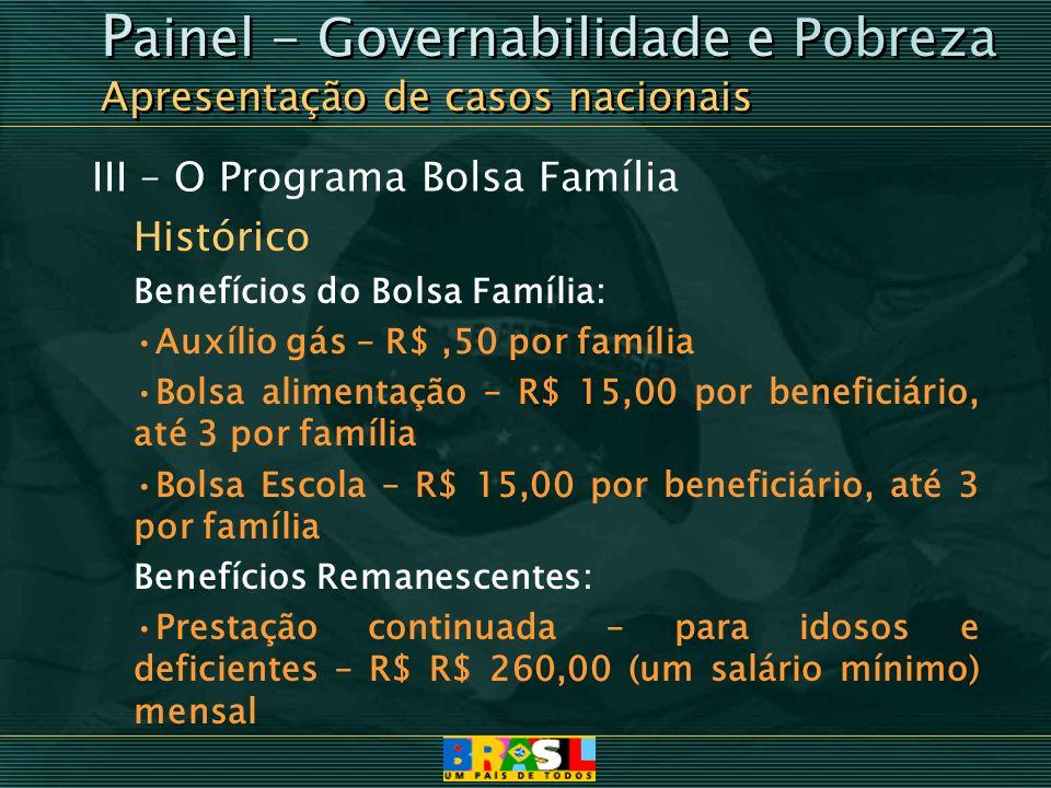 III – O Programa Bolsa Família Histórico Benefícios do Bolsa Família: Auxílio gás – R$,50 por família Bolsa alimentação – R$ 15,00 por beneficiário, a