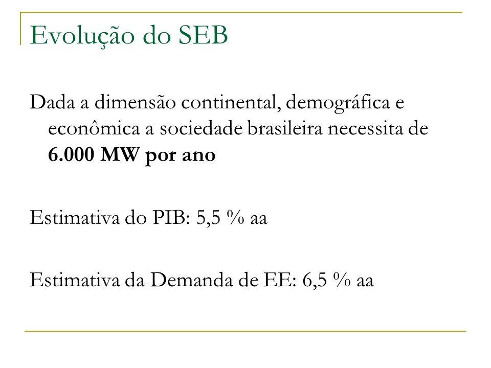 Evolução do SEB Dada a dimensão continental, demográfica e econômica a sociedade brasileira necessita de 6.000 MW por ano Estimativa do PIB: 5,5 % aa
