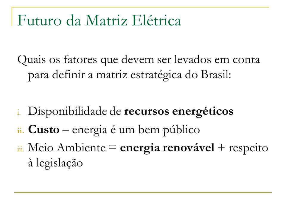 Futuro da Matriz Elétrica Quais os fatores que devem ser levados em conta para definir a matriz estratégica do Brasil: i. Disponibilidade de recursos
