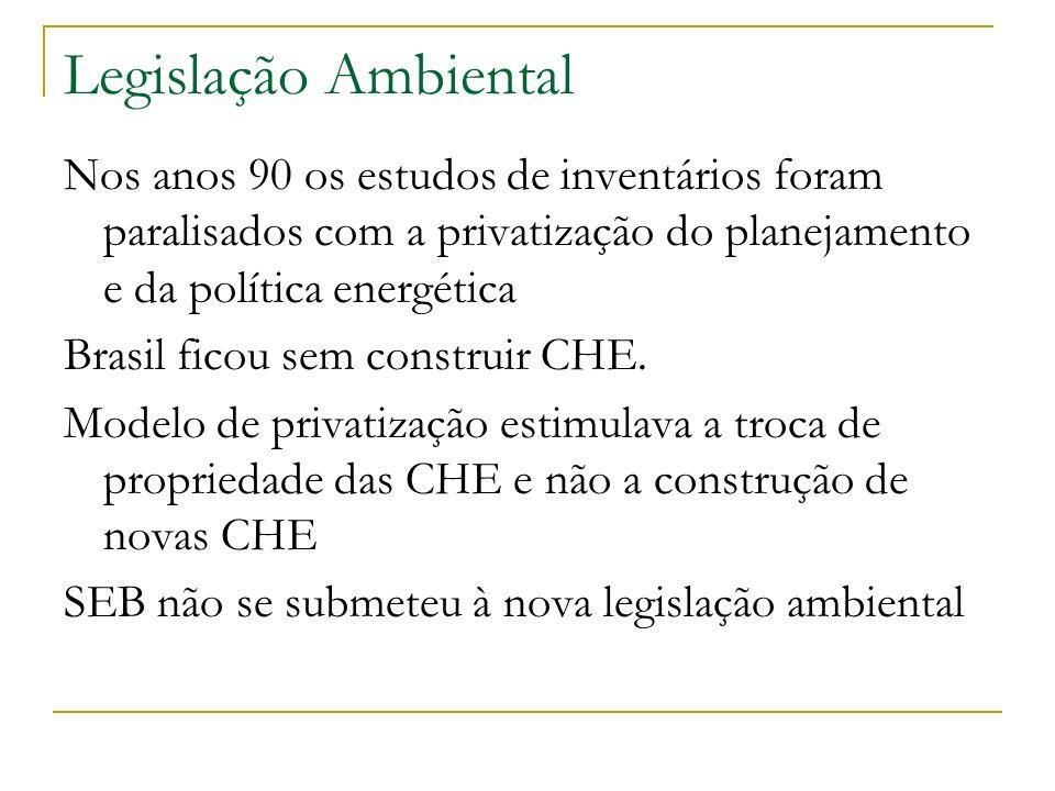 Legislação Ambiental Nos anos 90 os estudos de inventários foram paralisados com a privatização do planejamento e da política energética Brasil ficou