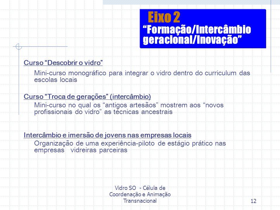 Vidro SO - Célula de Coordenação e Animação Transnacional12 Curso Descobrir o vidro Mini-curso monográfico para integrar o vidro dentro do curriculum