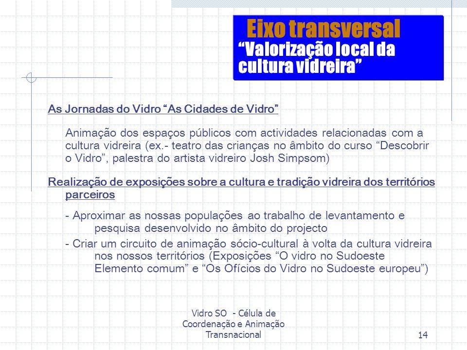 Vidro SO - Célula de Coordenação e Animação Transnacional14 As Jornadas do Vidro As Cidades de Vidro Animação dos espaços públicos com actividades rel