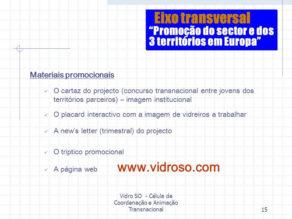 Vidro SO - Célula de Coordenação e Animação Transnacional15 Materiais promocionais O cartaz do projecto (concurso transnacional entre jovens dos terri