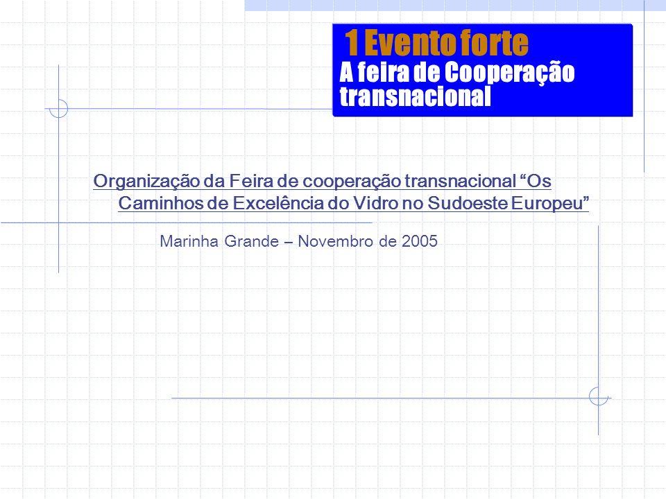 1 Evento forte A feira de Cooperação transnacional Organização da Feira de cooperação transnacional Os Caminhos de Excelência do Vidro no Sudoeste Eur