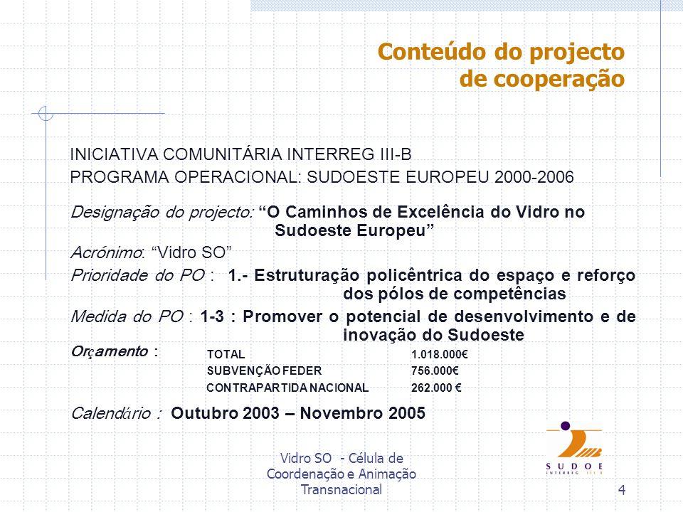 Vidro SO - Célula de Coordenação e Animação Transnacional4 INICIATIVA COMUNITÁRIA INTERREG III-B PROGRAMA OPERACIONAL: SUDOESTE EUROPEU 2000-2006 Desi