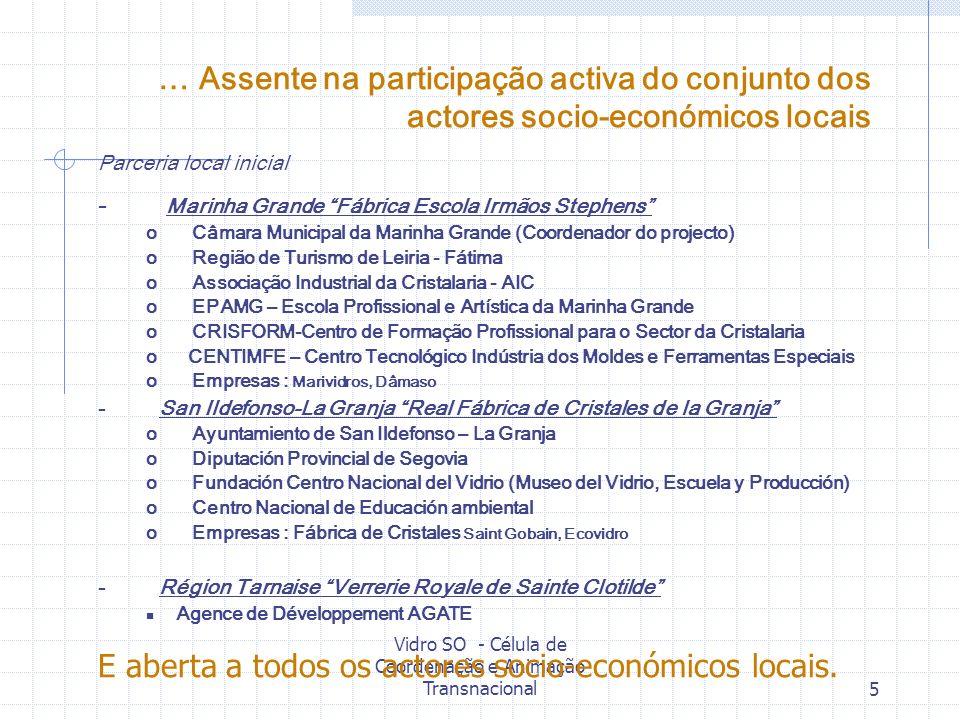 Vidro SO - Célula de Coordenação e Animação Transnacional5 … Assente na participação activa do conjunto dos actores socio-económicos locais Parceria l