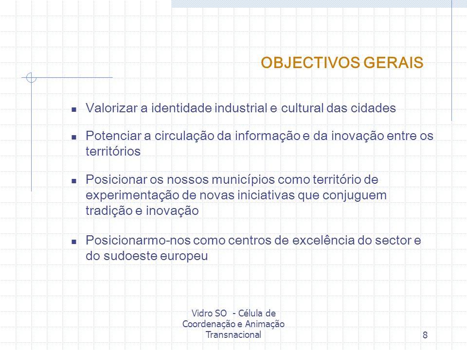 Vidro SO - Célula de Coordenação e Animação Transnacional8 OBJECTIVOS GERAIS Valorizar a identidade industrial e cultural das cidades Potenciar a circ