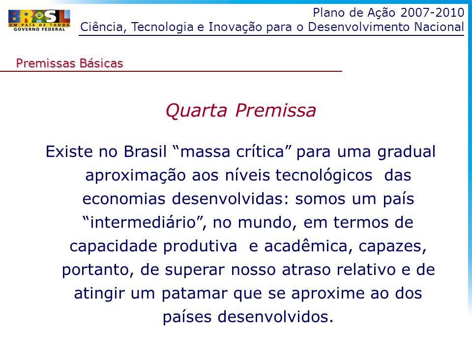 Plano de Ação 2007-2010 Ciência, Tecnologia e Inovação para o Desenvolvimento Nacional Quarta Premissa Existe no Brasil massa crítica para uma gradual