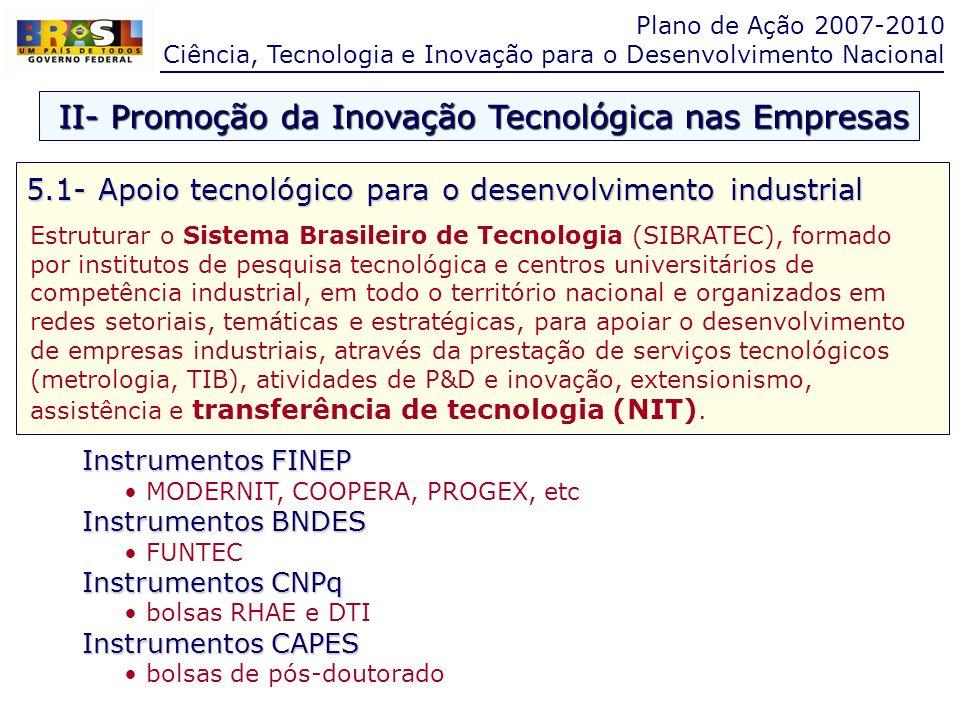 Instrumentos FINEP MODERNIT, COOPERA, PROGEX, etc Instrumentos BNDES FUNTEC Instrumentos CNPq bolsas RHAE e DTI Instrumentos CAPES bolsas de pós-douto