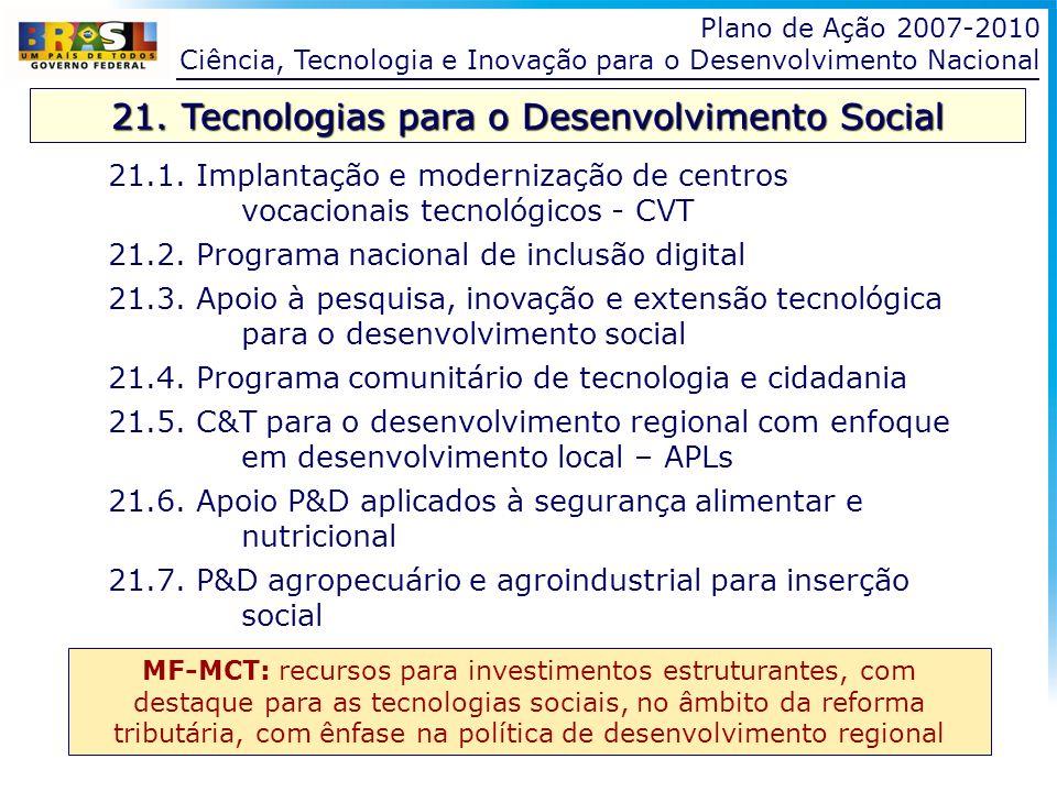 Plano de Ação 2007-2010 Ciência, Tecnologia e Inovação para o Desenvolvimento Nacional 21. Tecnologias para o Desenvolvimento Social 21.1. Implantação