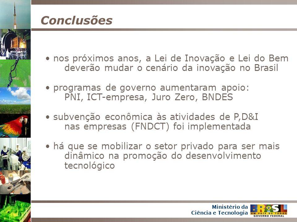 Ministério da Ciência e Tecnologia Conclusões nos próximos anos, a Lei de Inovação e Lei do Bem deverão mudar o cenário da inovação no Brasil programa