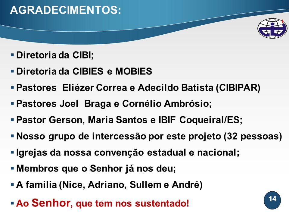 14 AGRADECIMENTOS: Diretoria da CIBI; Diretoria da CIBIES e MOBIES Pastores Eliézer Correa e Adecildo Batista (CIBIPAR) Pastores Joel Braga e Cornélio