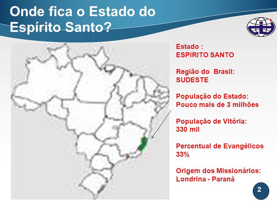 2 Onde fica o Estado do Espírito Santo? Estado : ESPIRITO SANTO Região do Brasil: SUDESTE População do Estado: Pouco mais de 3 milhões População de Vi