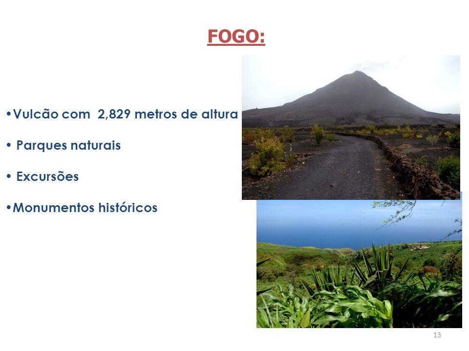 13 Vulcão com 2,829 metros de altura Parques naturais Excursões Monumentos históricos FOGO:
