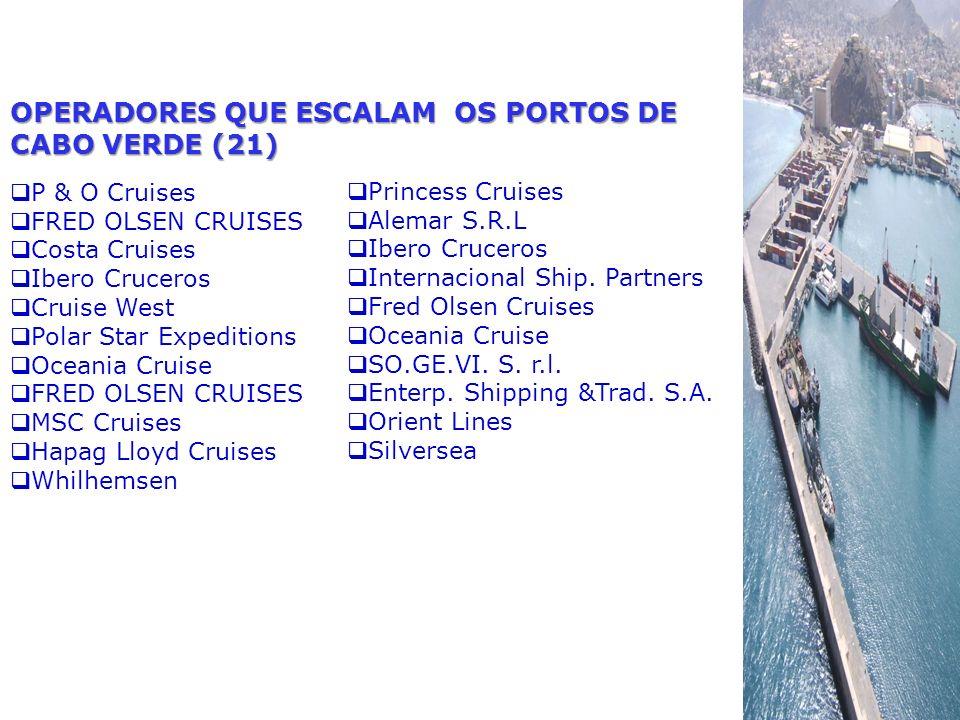OPERADORES QUE ESCALAM OS PORTOS DE CABO VERDE (21) P & O Cruises FRED OLSEN CRUISES Costa Cruises Ibero Cruceros Cruise West Polar Star Expeditions O