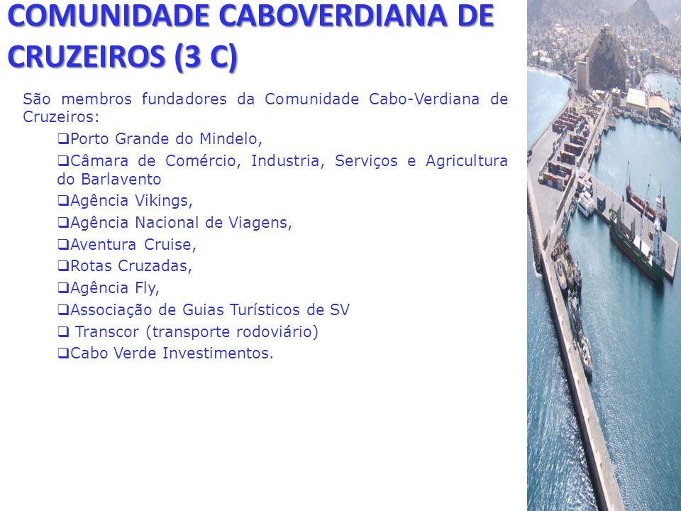 COMUNIDADE CABOVERDIANA DE CRUZEIROS (3 C) São membros fundadores da Comunidade Cabo-Verdiana de Cruzeiros: Porto Grande do Mindelo, Câmara de Comérci