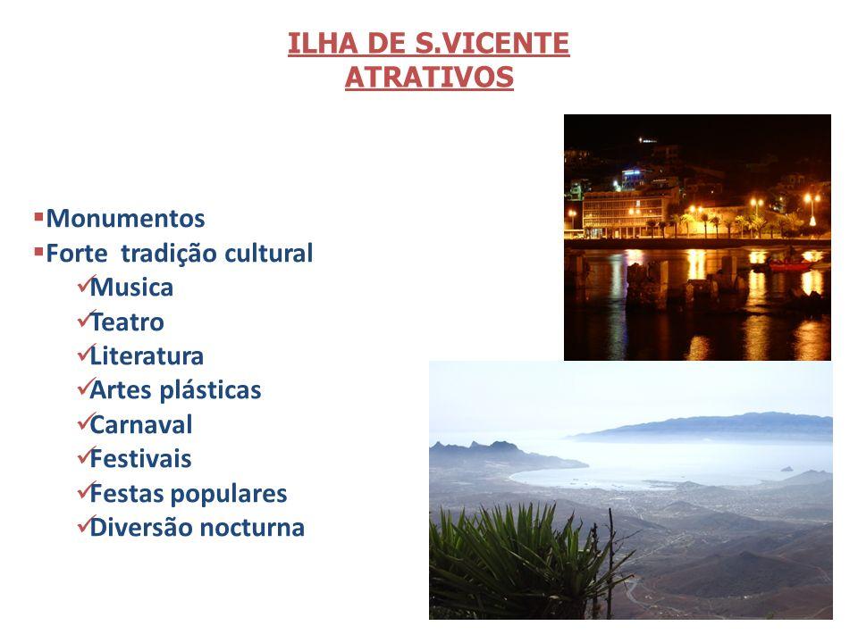 6 ILHA DE S.VICENTE ATRATIVOS Monumentos Forte tradição cultural Musica Teatro Literatura Artes plásticas Carnaval Festivais Festas populares Diversão