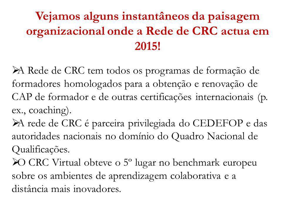 Vejamos alguns instantâneos da paisagem organizacional onde a Rede de CRC actua em 2015! A Rede de CRC tem todos os programas de formação de formadore