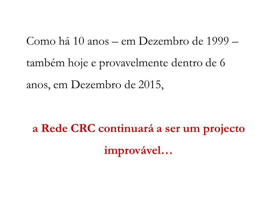 Como há 10 anos – em Dezembro de 1999 – também hoje e provavelmente dentro de 6 anos, em Dezembro de 2015, a Rede CRC continuará a ser um projecto imp