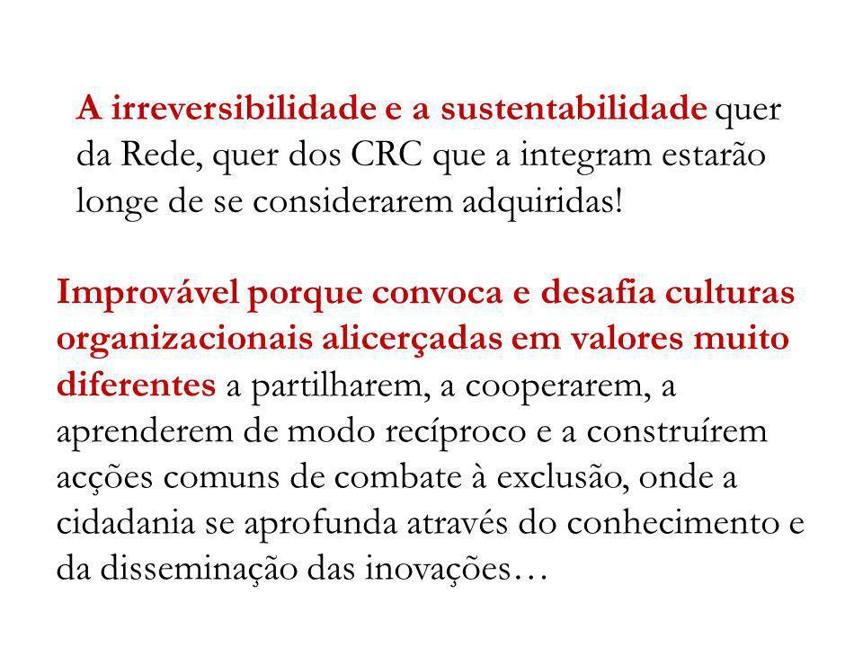 A irreversibilidade e a sustentabilidade quer da Rede, quer dos CRC que a integram estarão longe de se considerarem adquiridas! Improvável porque conv