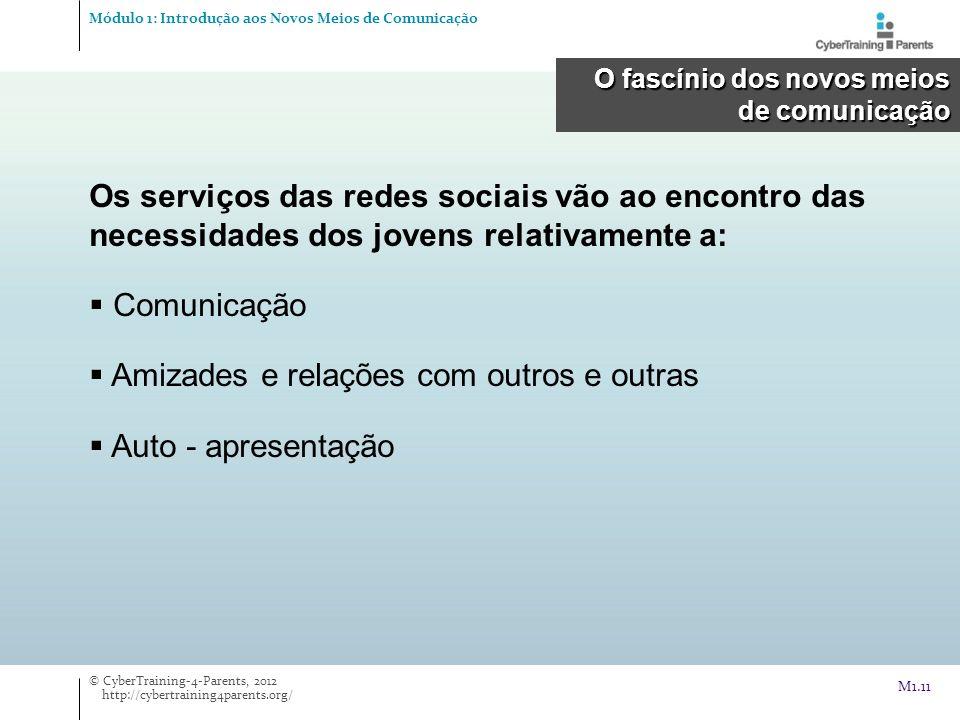 Os serviços das redes sociais vão ao encontro das necessidades dos jovens relativamente a: Comunicação Amizades e relações com outros e outras Auto -