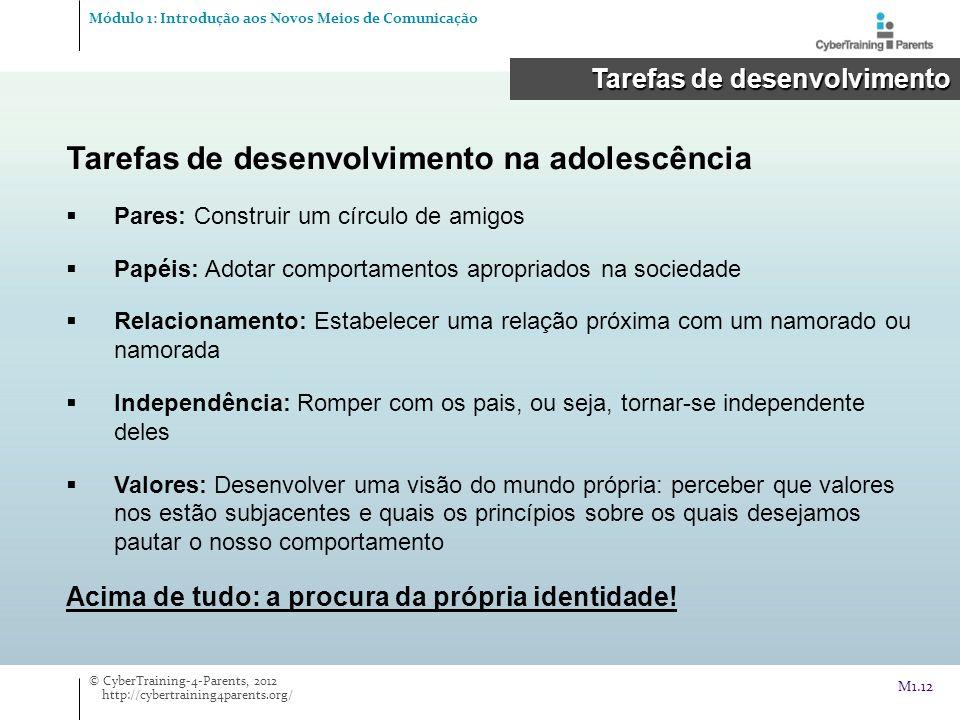 Tarefas de desenvolvimento na adolescência Pares: Construir um círculo de amigos Papéis: Adotar comportamentos apropriados na sociedade Relacionamento