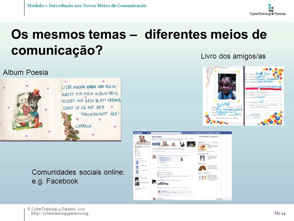 Os mesmos temas – diferentes meios de comunicação? Album Poesia Livro dos amigos/as Comunidades sociais online: e.g. Facebook Módulo 1: Introdução aos