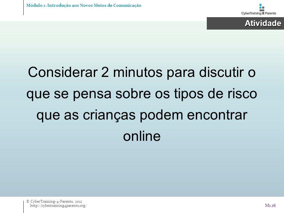 Considerar 2 minutos para discutir o que se pensa sobre os tipos de risco que as crianças podem encontrar online Módulo 1: Introdução aos Novos Meios